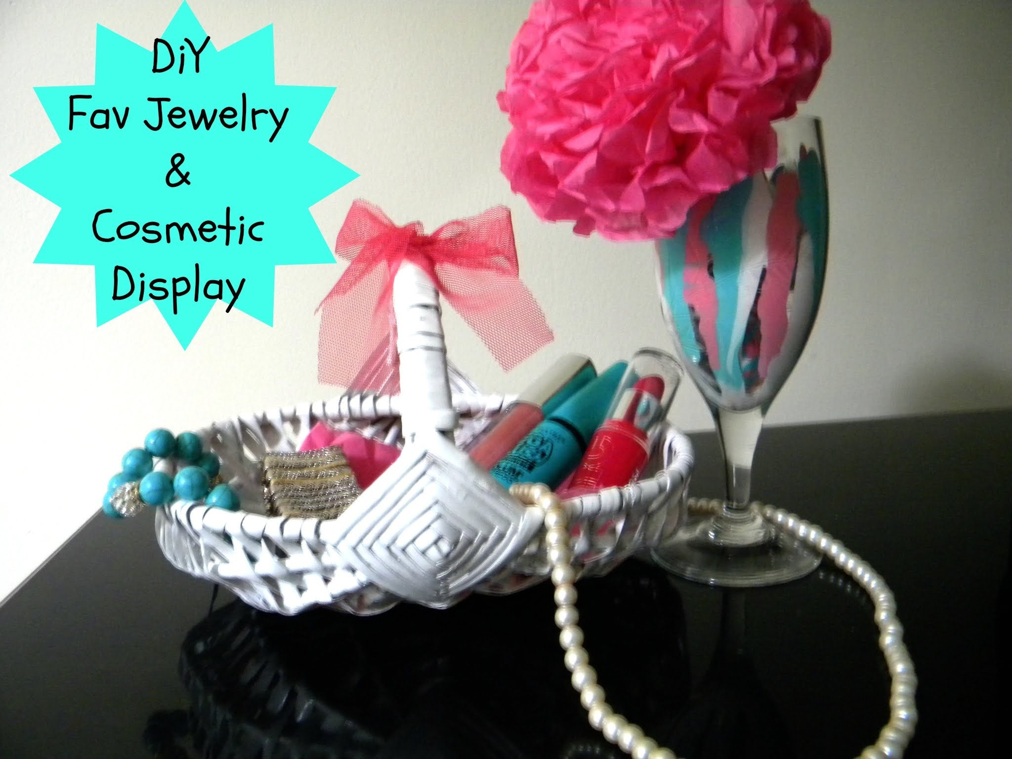 DIY Fav Jewelry & Cosmetics Display. Wine glass decor
