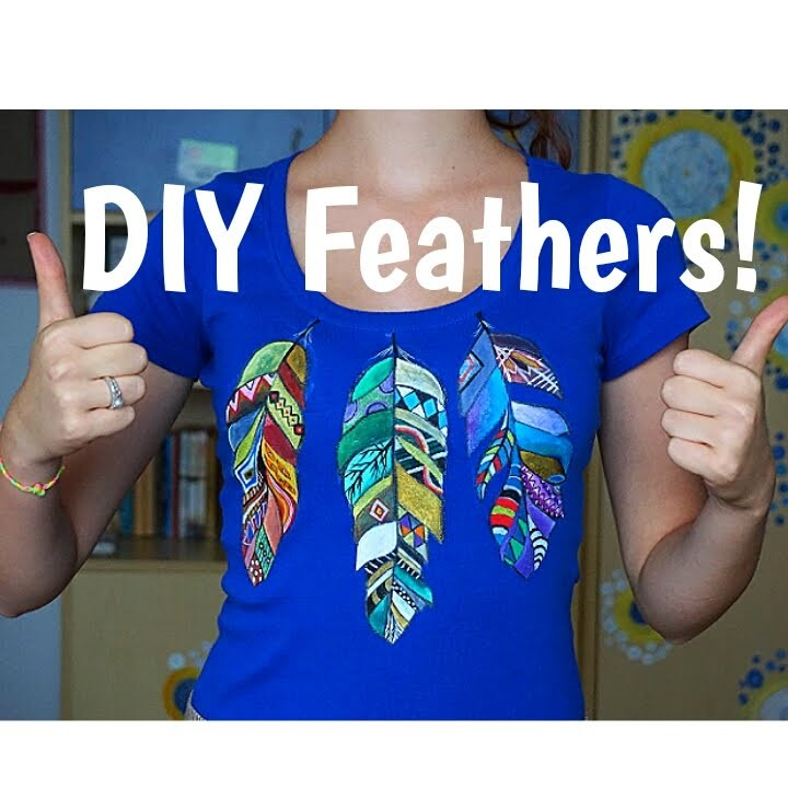 DIY Feathers on T-shirt! by Redhead