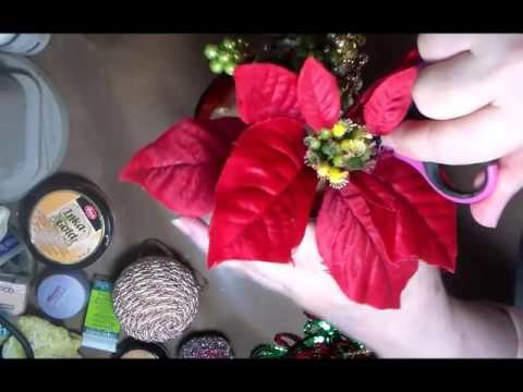 DIY HOLIDAY CENTERPIECE USING RECYCLED PLASTIC WINE GLASS