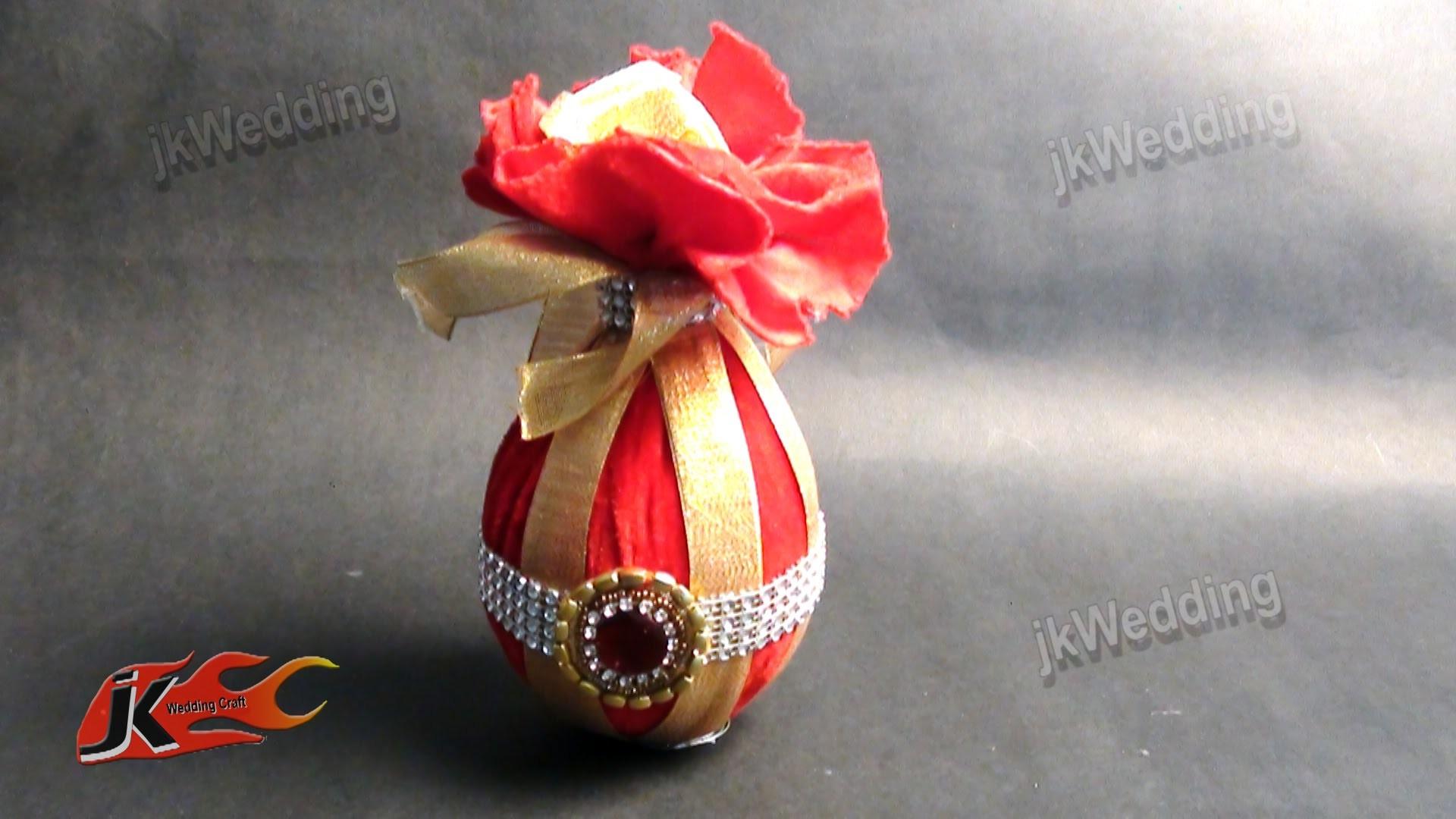 DIY Wedding shagun nariyal packing |How to make Coconut Decoration|JK Wedding 010
