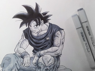Drawing Goku - Grey Tones only