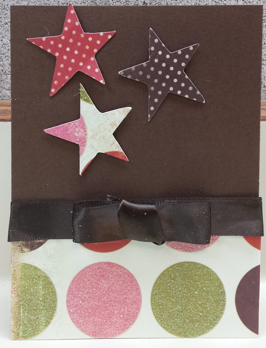 Flat Bow Technique Handmade Birthday Star Card