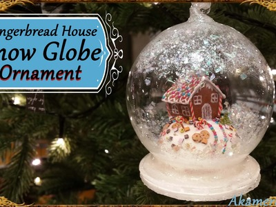 Gingerbread House Snow Globe.Ornament - Polymer Clay Tutorial