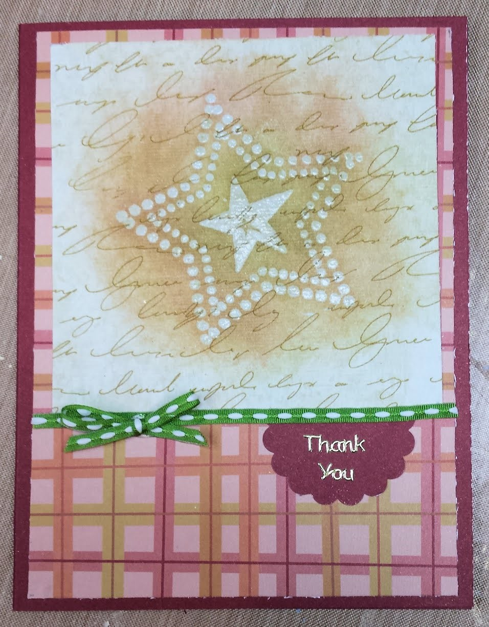 Handmade Embossed and Inked Thank You Card
