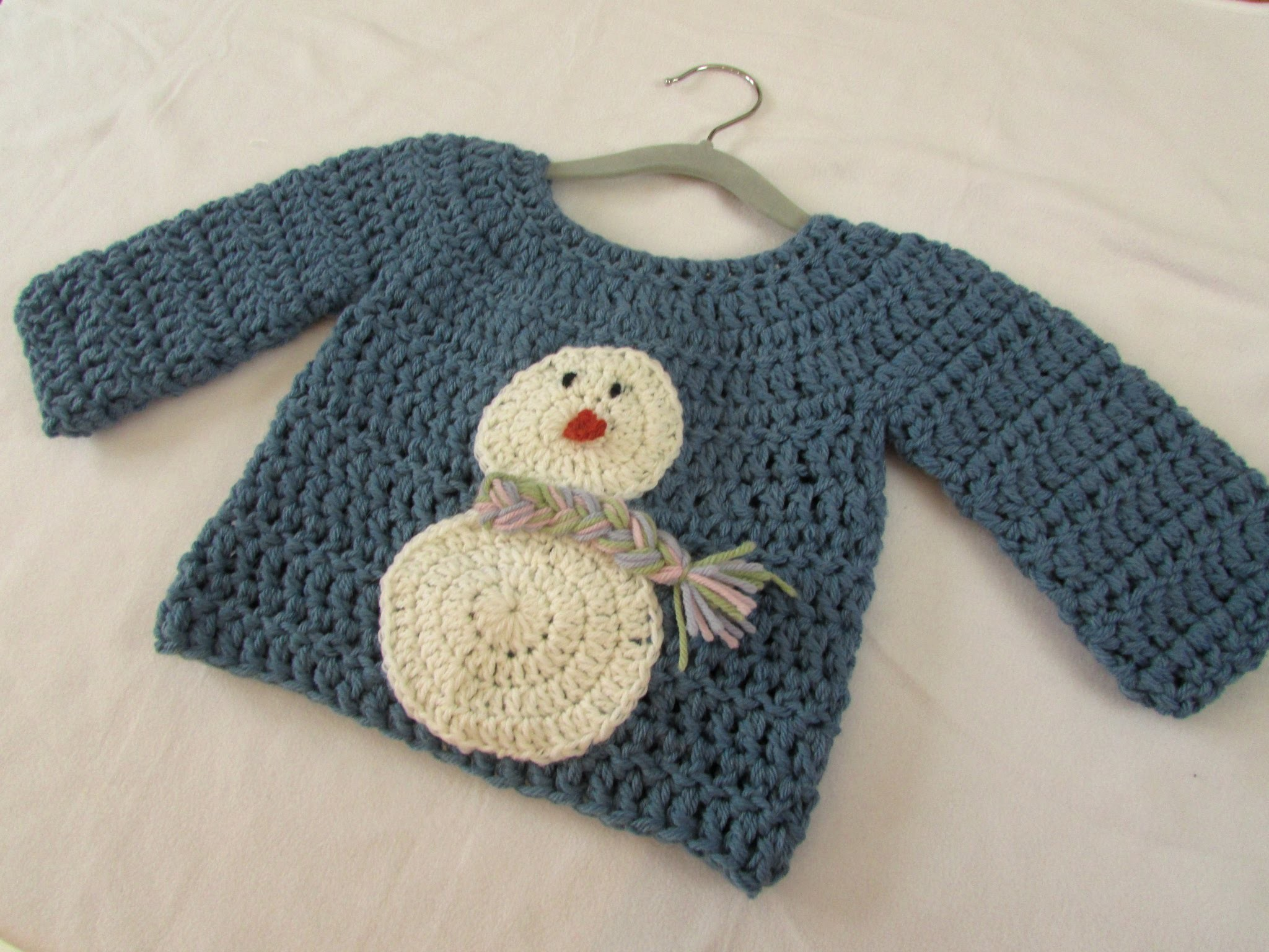 How to crochet a children's chunky Christmas jumper. sweater - snowman jumper