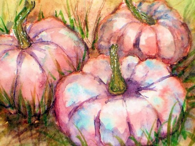How To Paint Porcelain Doll Pumpkins In Watercolor