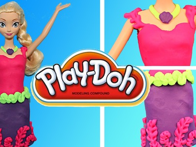 Play Doh Frozen Elsa Barbie Dress Playdough Mermaid Themed Dress-Up Tutorial DisneyCarToys