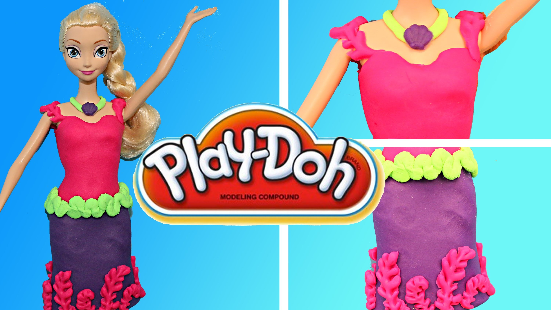 Play Doh Frozen Elsa Barbie Dress Playdough Mermaid Themed Dress-Up Tutorial DisneyCarToys