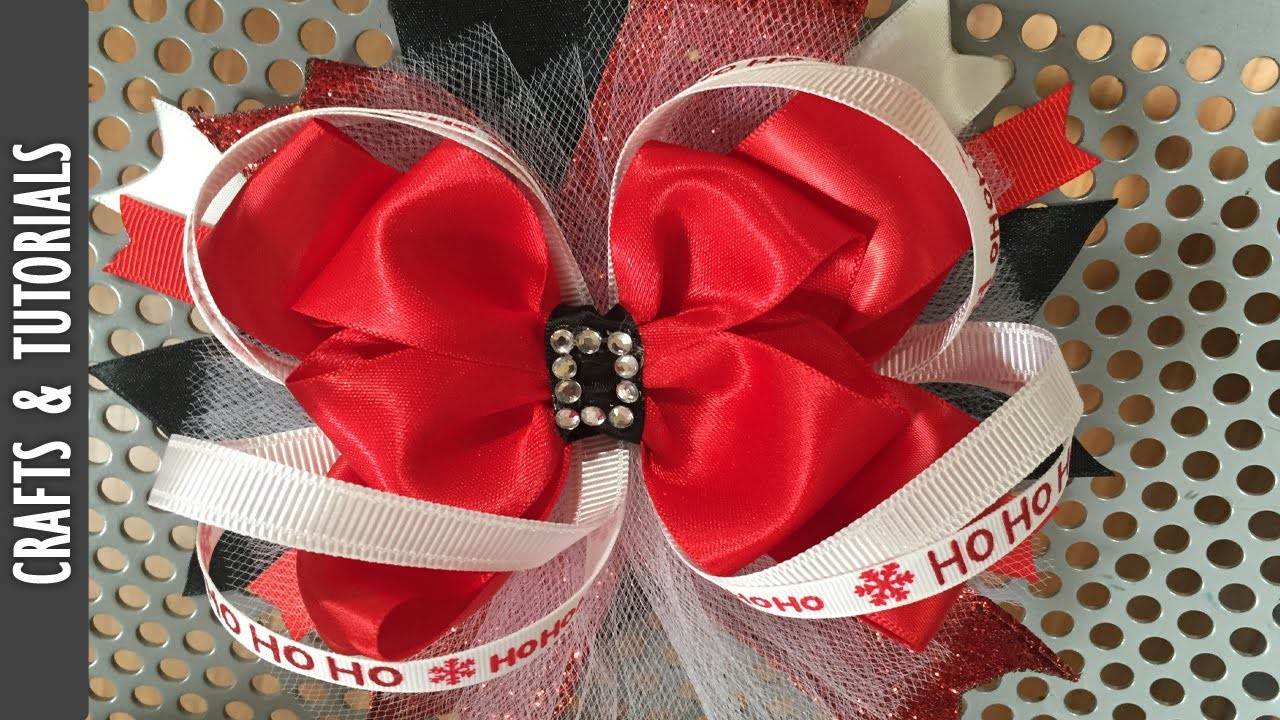 Santa Claus Inspired Hair Bow, Christmas Hair Bow Tutorial, The290ss