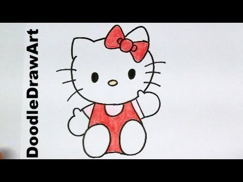 Drawing: How To Draw Hello Kitty - Step by Step - Easy drawing tutorial for kids!