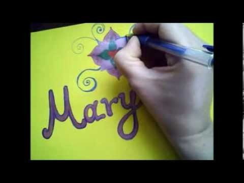 Easy Colourful NameTag & Doodling Tutorial | Panoraia's Art