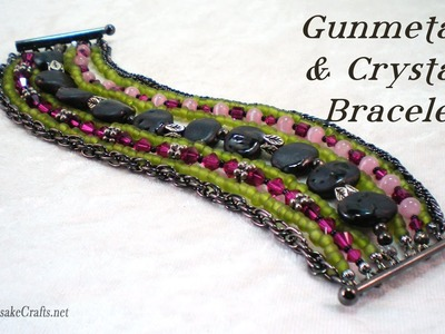 Gunmetal & Crystal Bracelet Tutorial