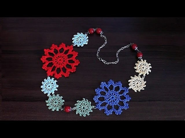 How to crochet  necklace   VERY EASY Step by step Tutorial  Part 3