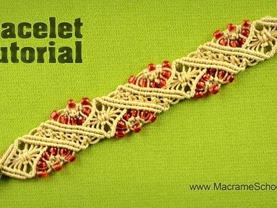 Macramé Diamond Stripe Bracelet Tutorial by Macrame School