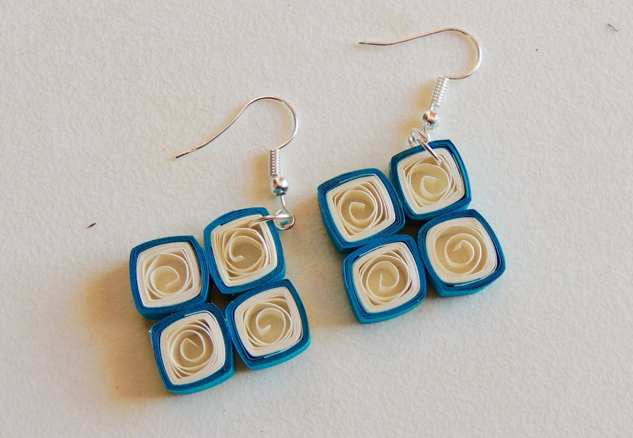 Quilling Square Drop earring DIY