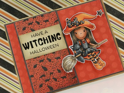 Witch Ellie Riding Broom - Copic Colouring & Card Tutorial