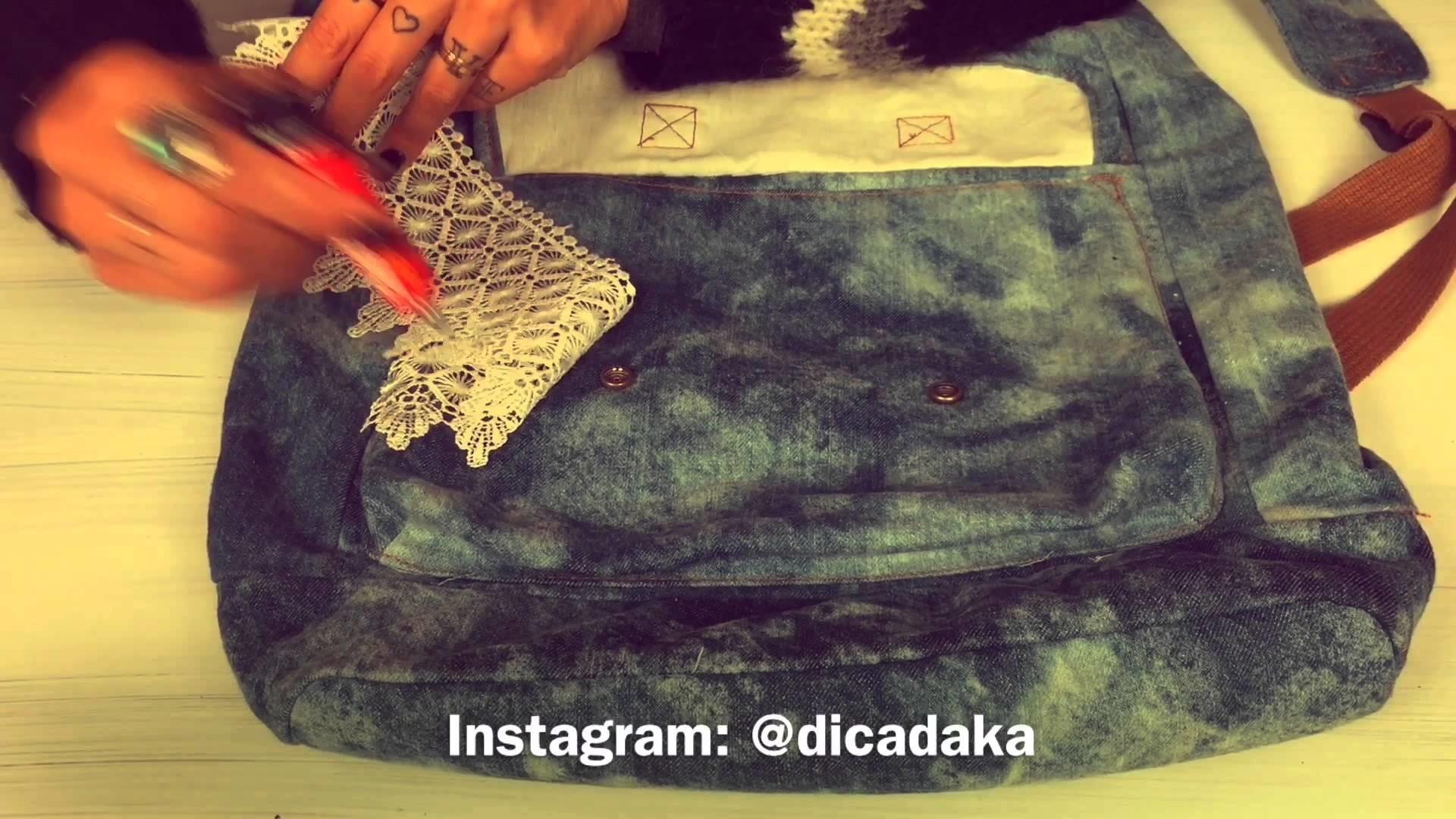 DIY customize sua mochila com renda
