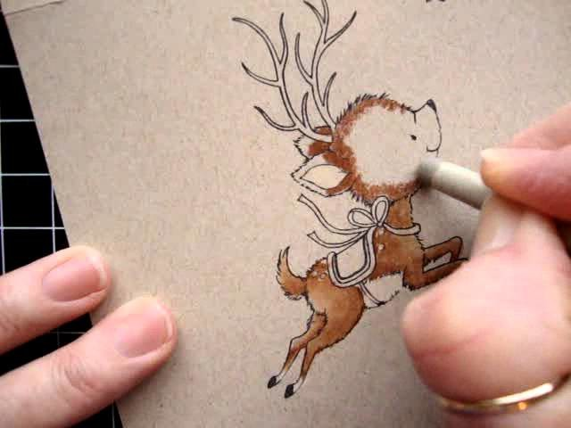 Flying Reindeer Card Kit How to Color Tutorial