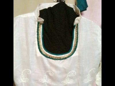 Designer Neck line With Collar ( DIY )