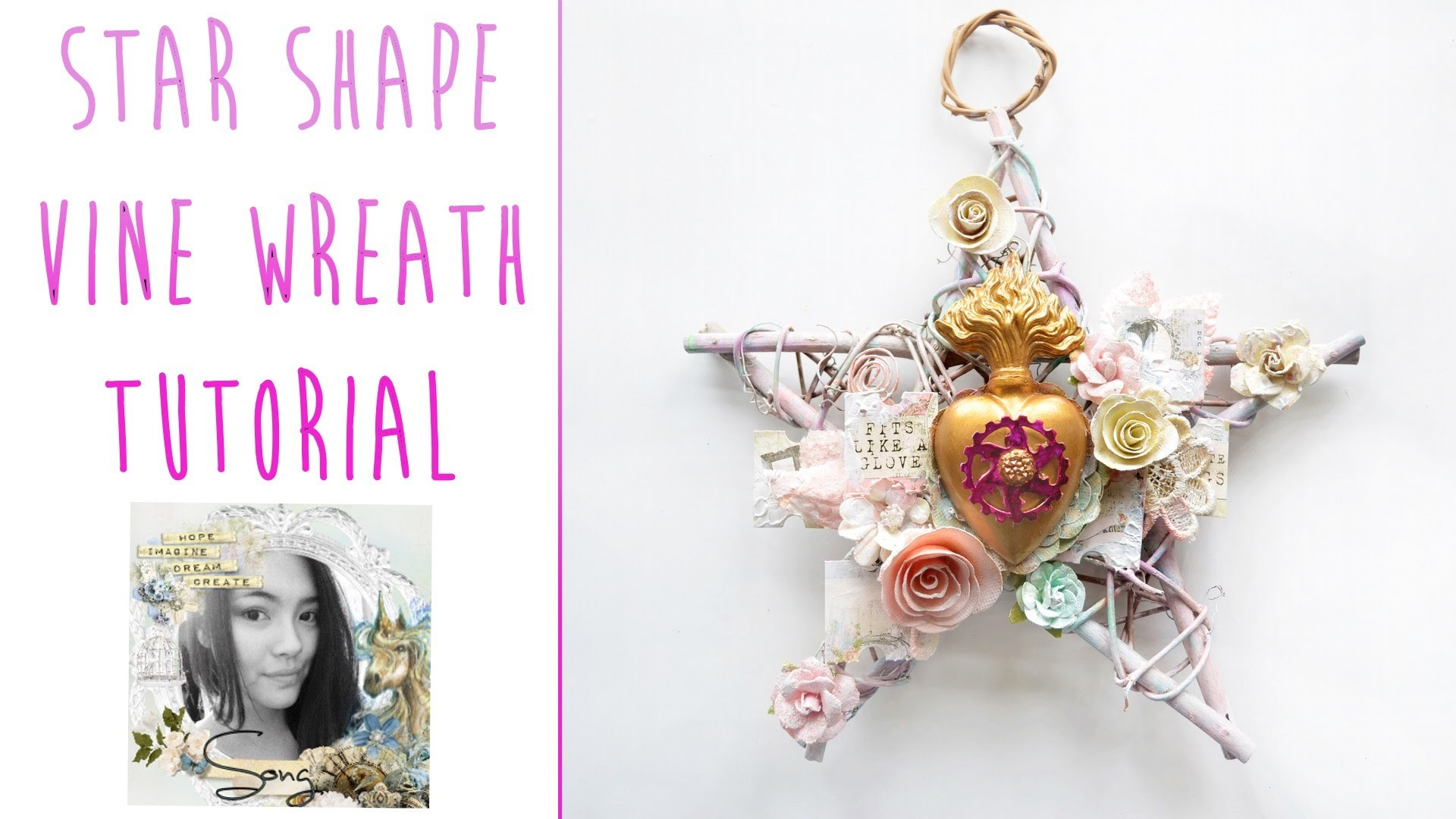 "☼ ""Golden Heart"" Star Shape Vine Wreath Tutorial ☼"