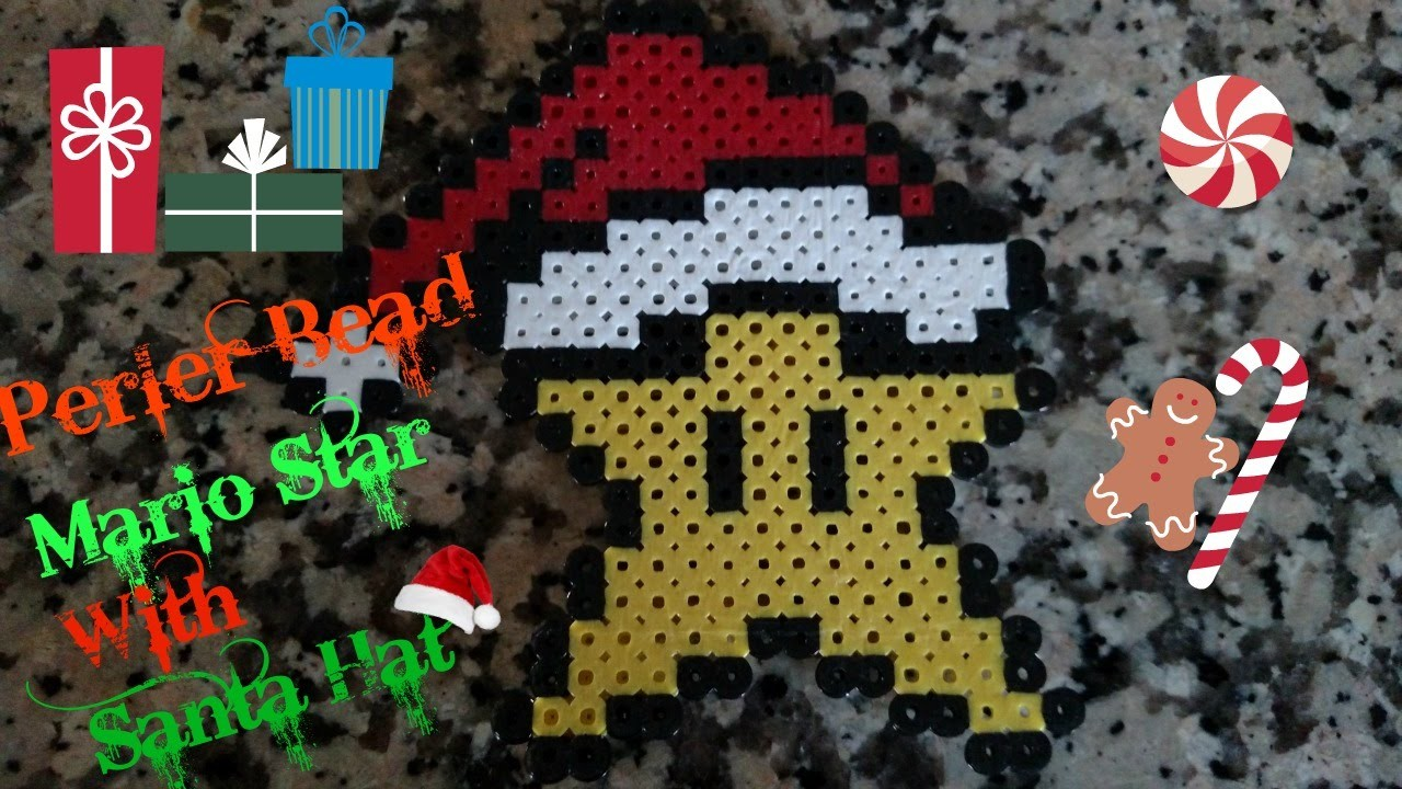 Perler bead Super Mario Star With Hat!! (Tutorial)