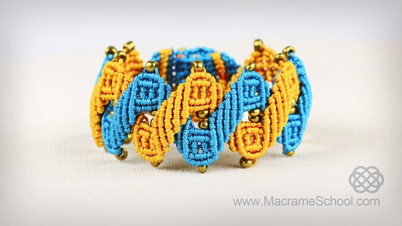 Stylized Helix Zig Zag Bracelet Tutorial in Vintage Style | Macrame School