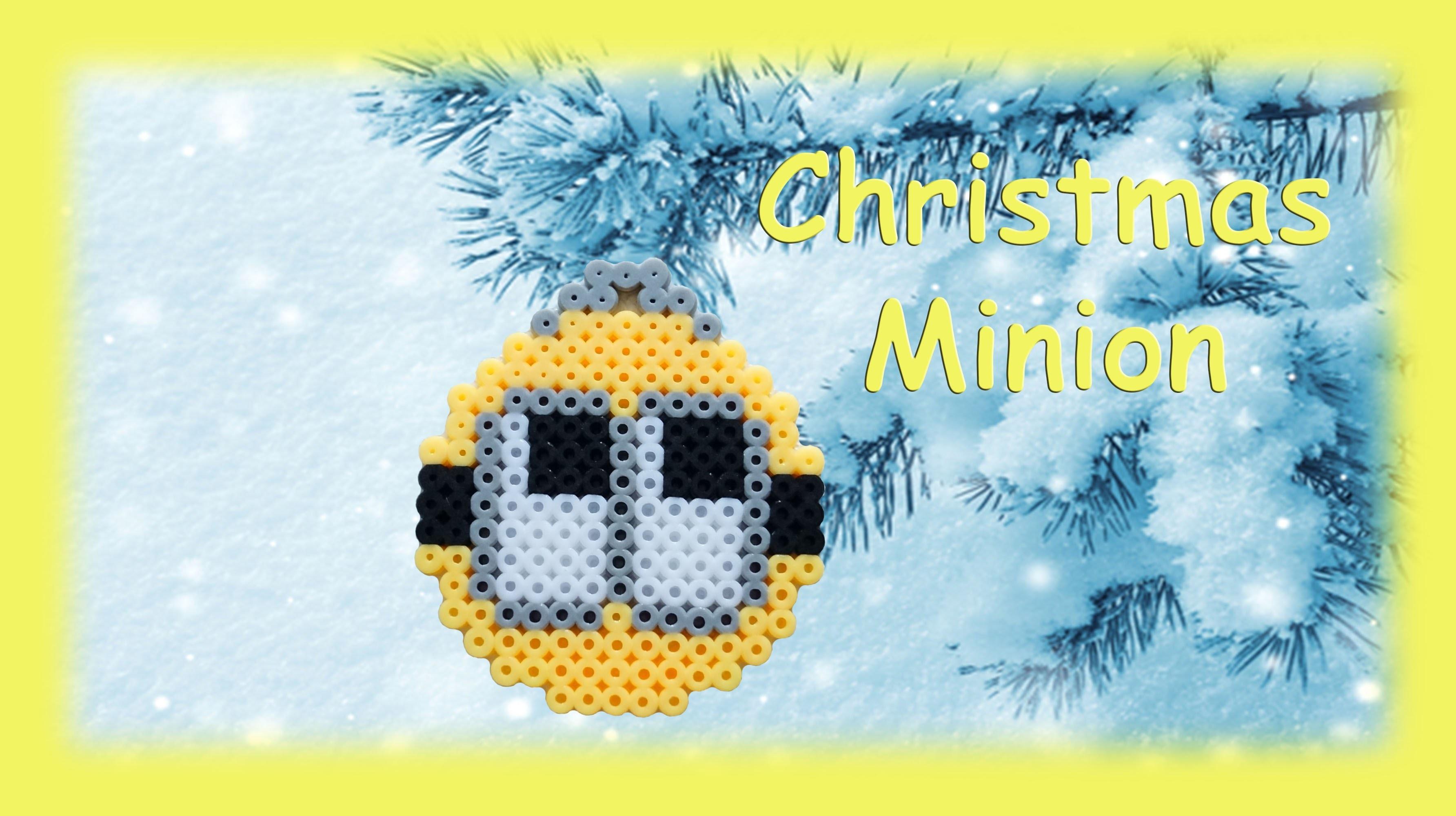 TUTORIAL Hama Beads Pyssla Perler Beads. How to Make Christmas ball Minion