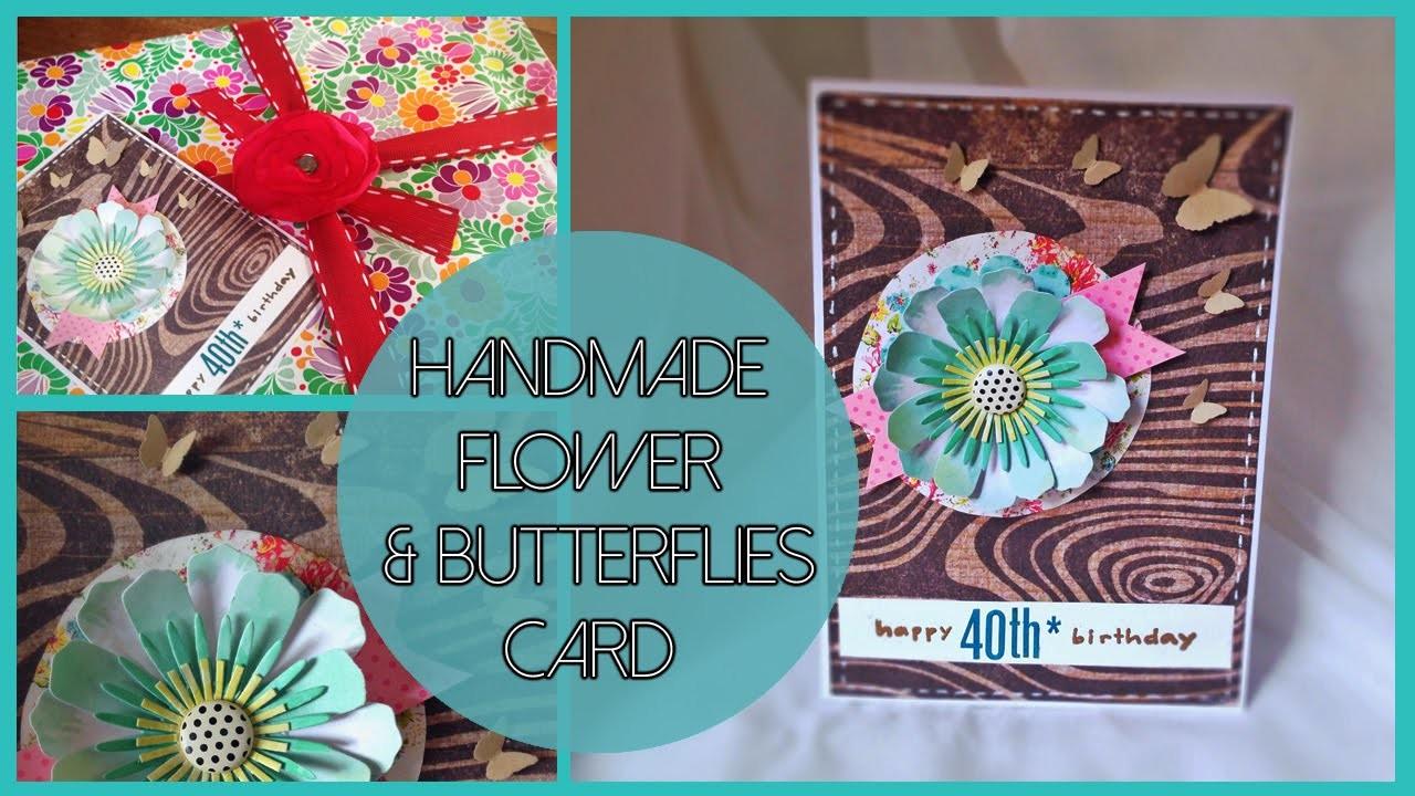 D.I.Y. woodgrain, flower & butterflies card - biglietto con fiore e farfalle