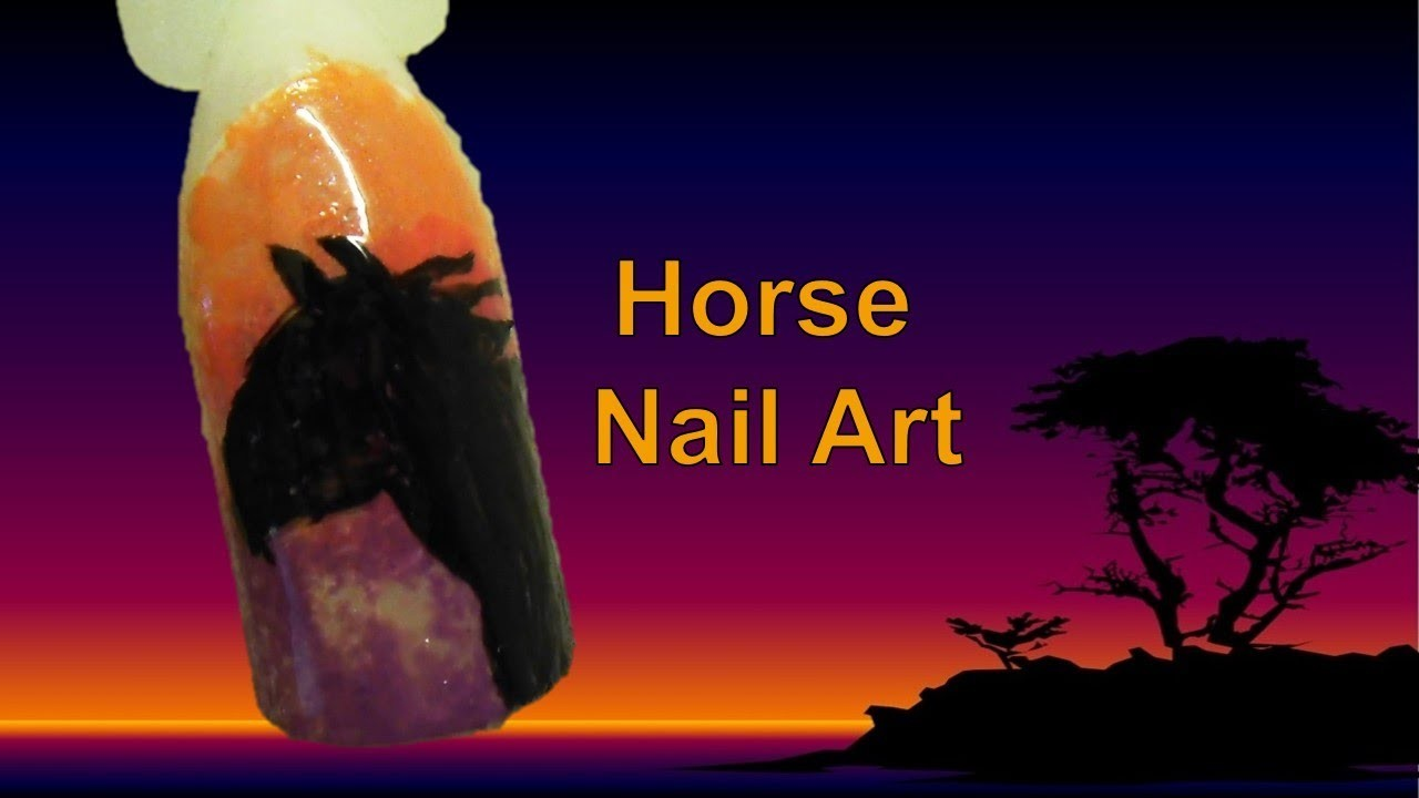 Easy Free Hand Horse Nail Art Tutorial