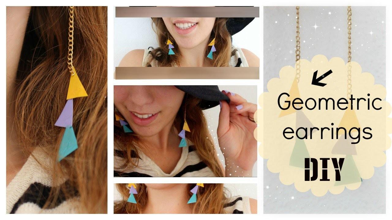 Easy geometric earrings tutorial using nail polish