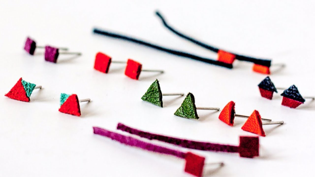 Make Colorful Geometric Leather Earrings - DIY Style - Guidecentral