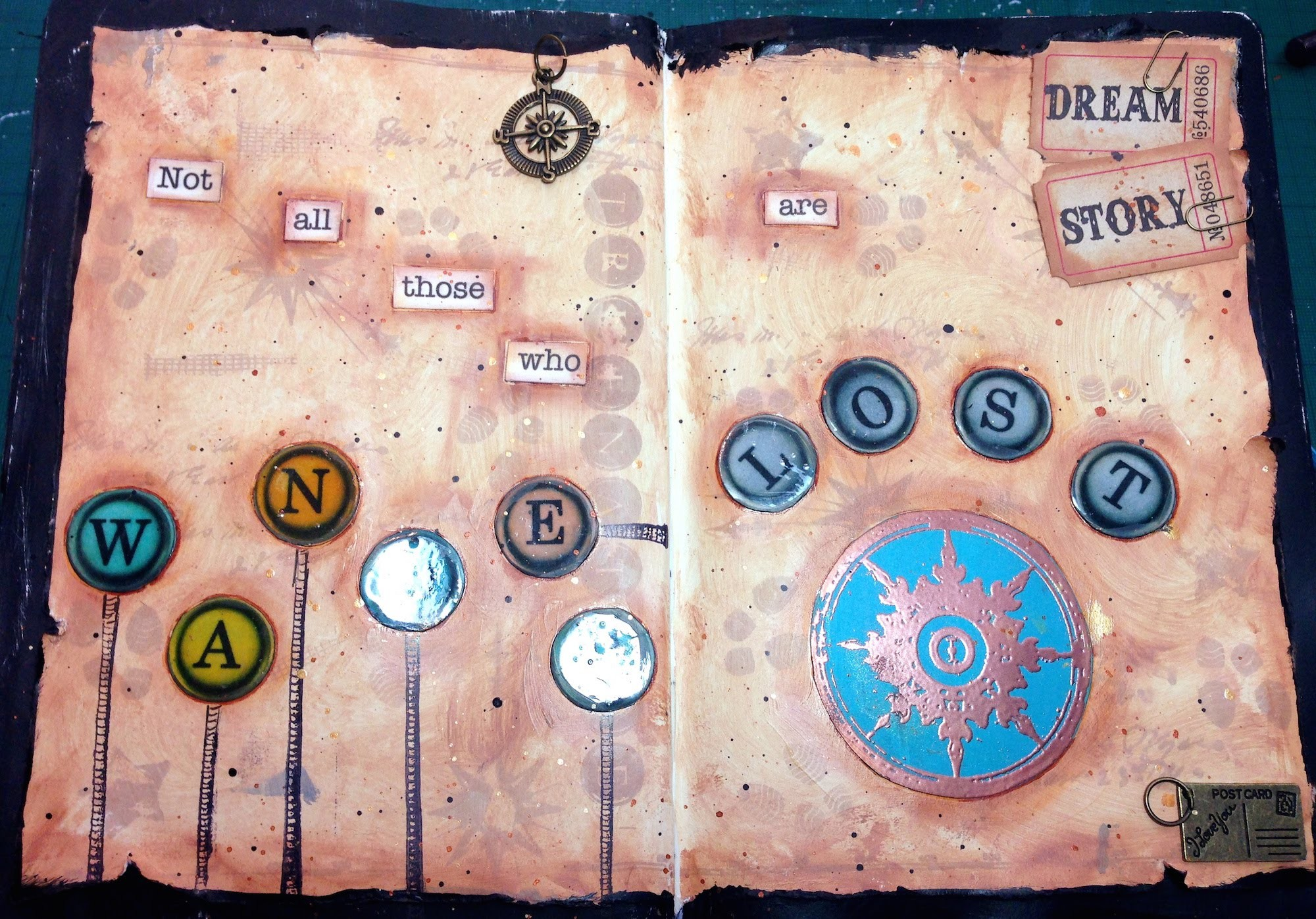 MIXED MEDIA ART JOURNAL TUTORIAL - NOT ALL THOSE WHO WANDER ARE LOST - PINK AT HEART