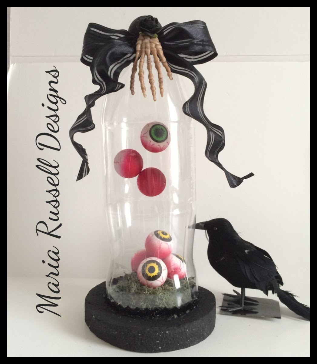 Tutorial~Halloween Eyeballs Cloche Using Empty Soda Bottle