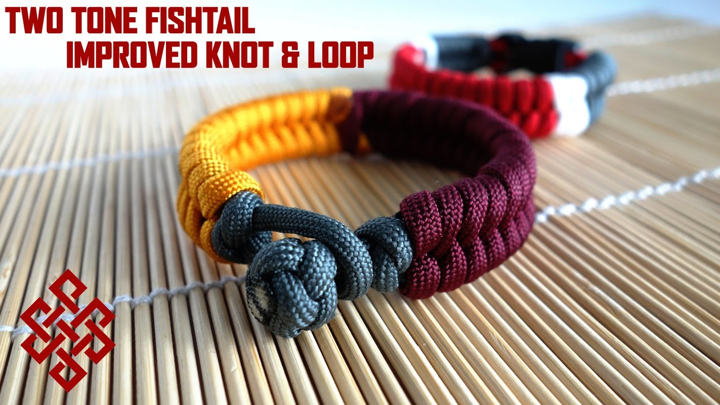 Two Color Fishtail (No Buckles) Paracord Bracelet Tutorial (Improved Knot and Loop Method)