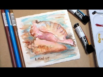 Watercolor Seashell {conch shell} Painting Tutorial-Easy!