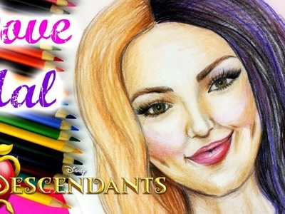DISNEY DESCENDANTS MAL and DOVE CAMERON STEP BY STEP DRAWING TUTORIAL