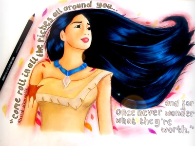 How to draw Pocahontas (Disney) - skin blending drawing tutorial