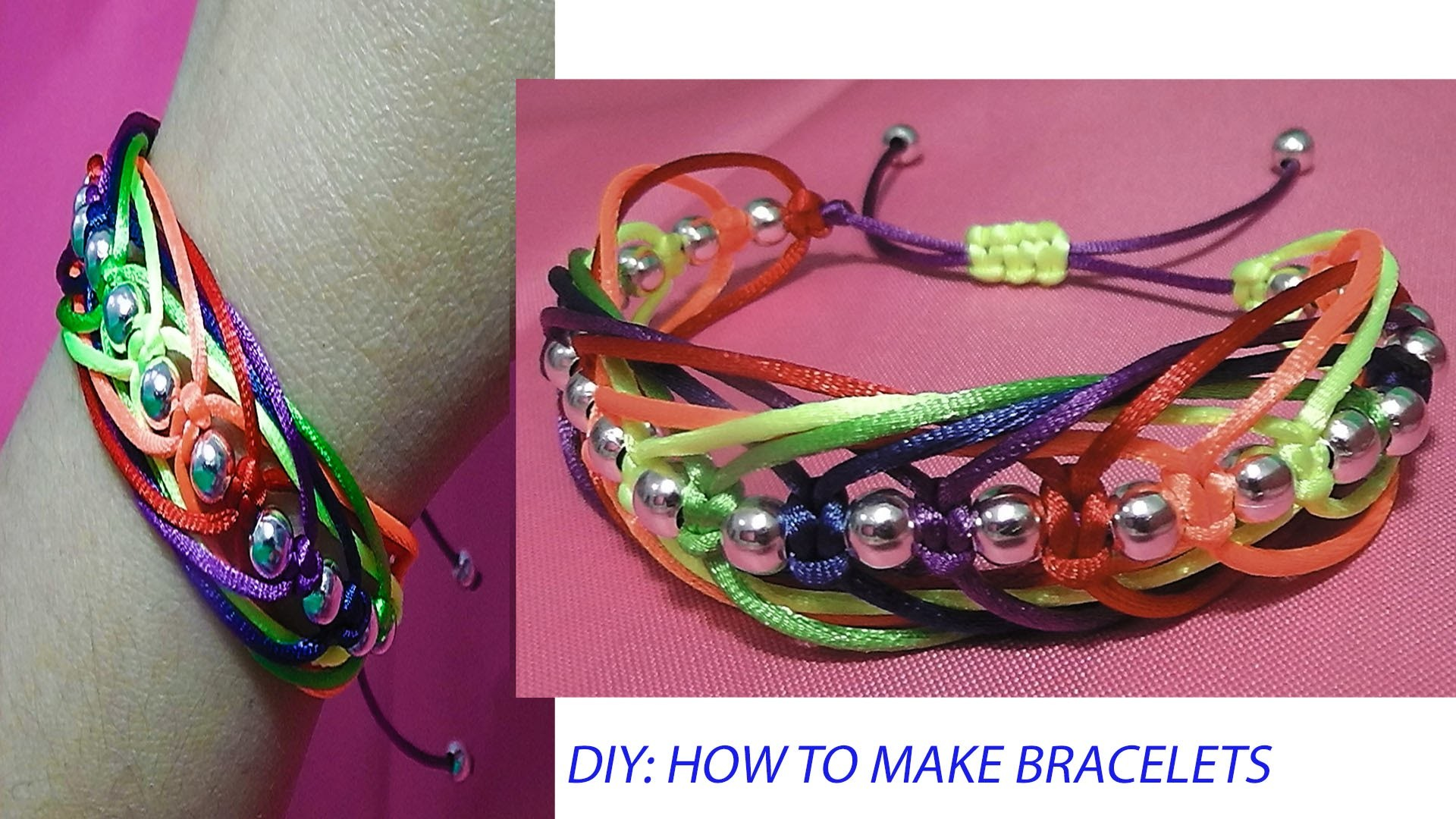 How to make a bracelet knots macrame Square knot weave adjustable tutorial diy
