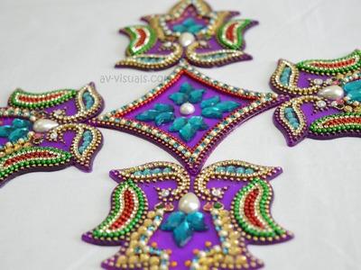 How to make Beautiful Acrylic Rangoli    Tutorial