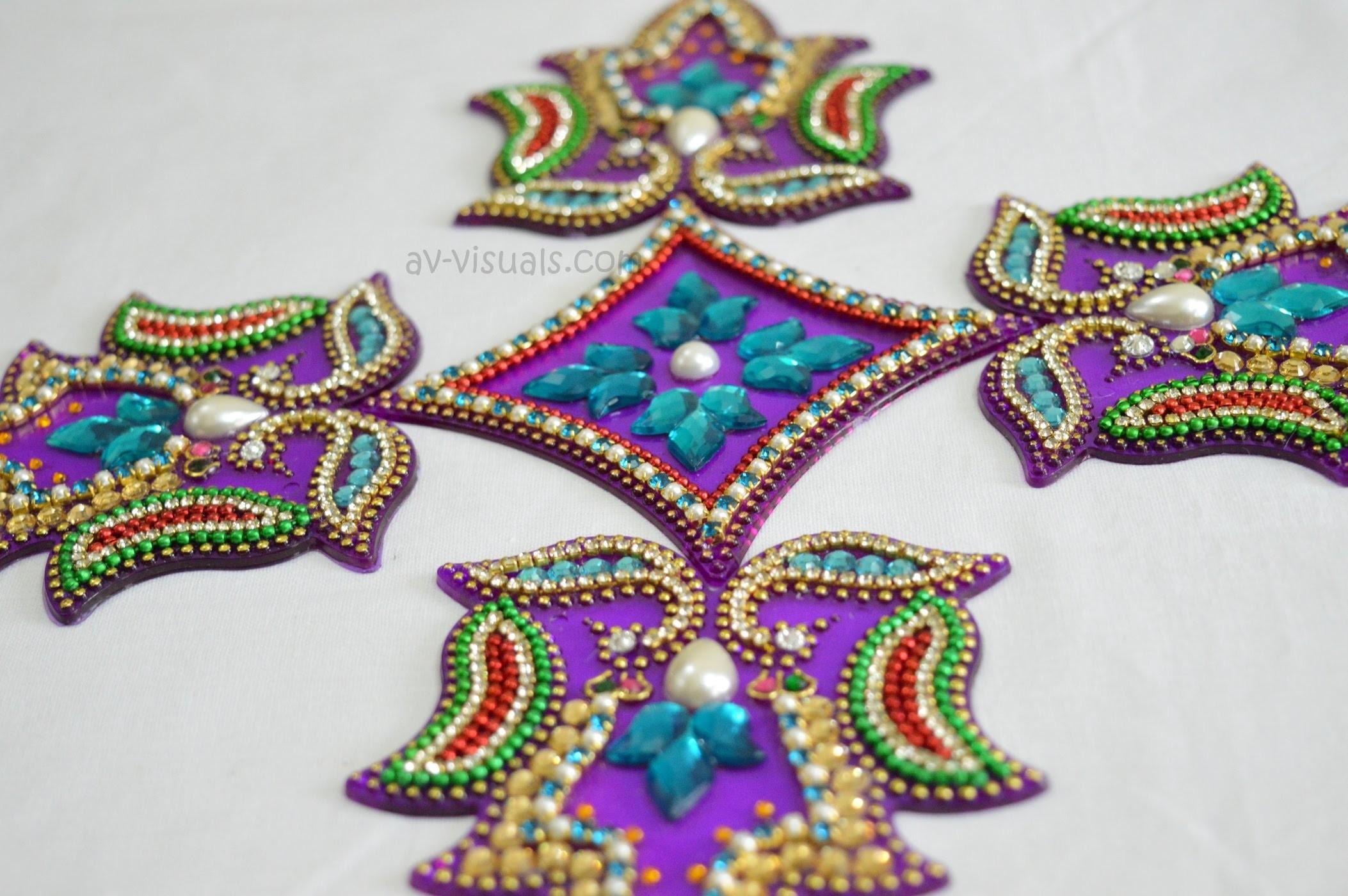 How to make Beautiful Acrylic Rangoli  | Tutorial