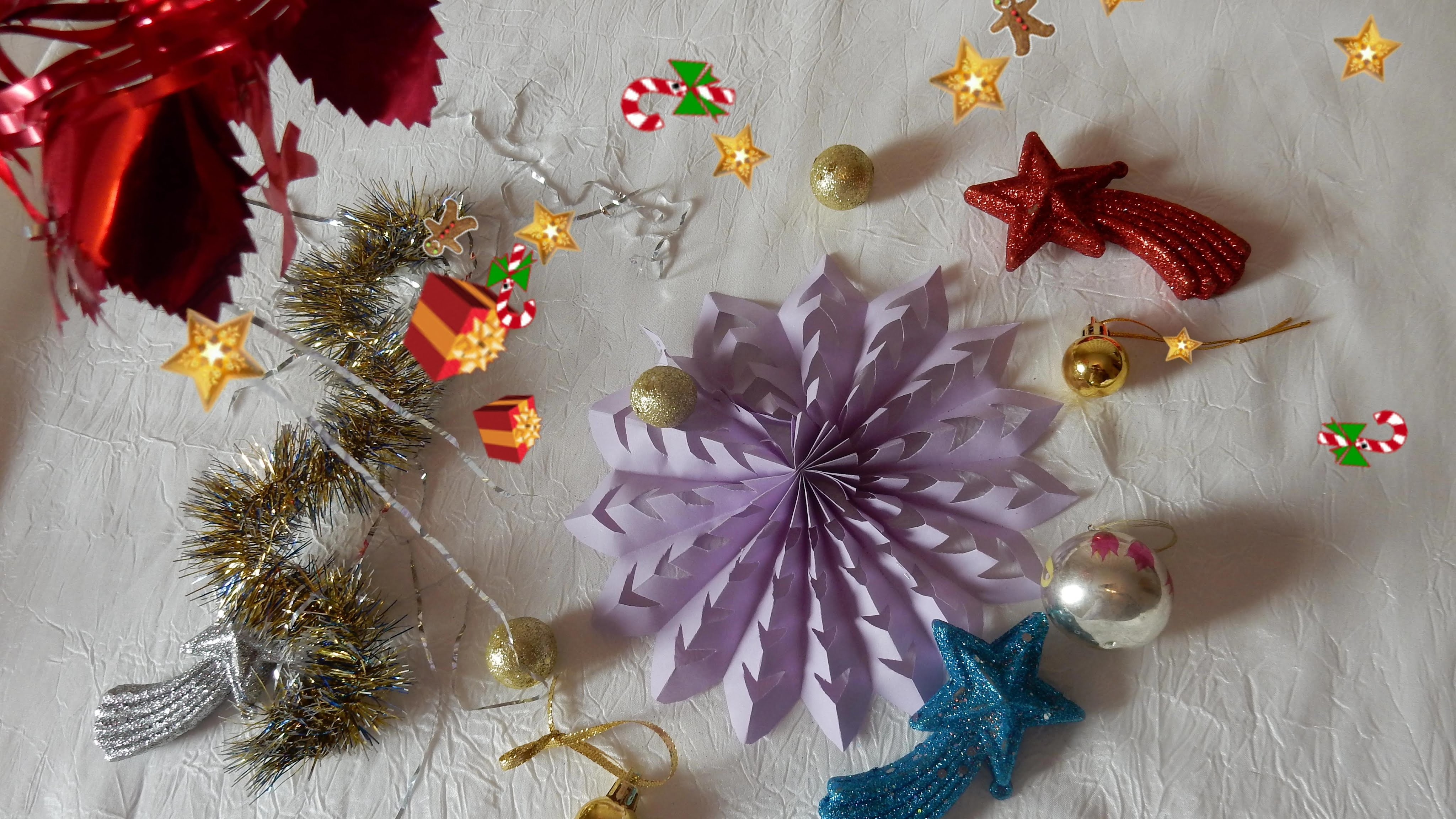 How to make beautiful paper decoration 3D snowflake for Christmas  Tutorial