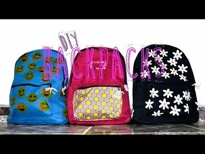 BACK TO SCHOOL--DIY Backpacks: Emoji-Daisy-Fabric Pocket
