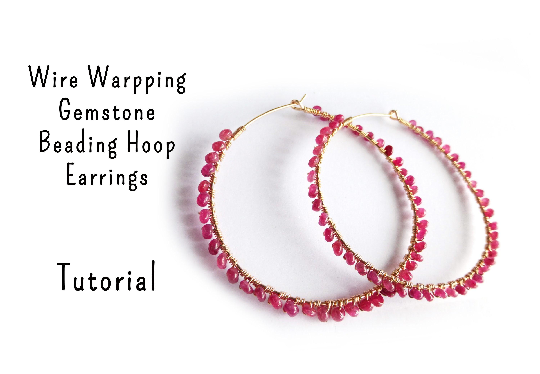 Gemstone Wire Wrapped Hoop Earrings Tutorial by Mbeadstore