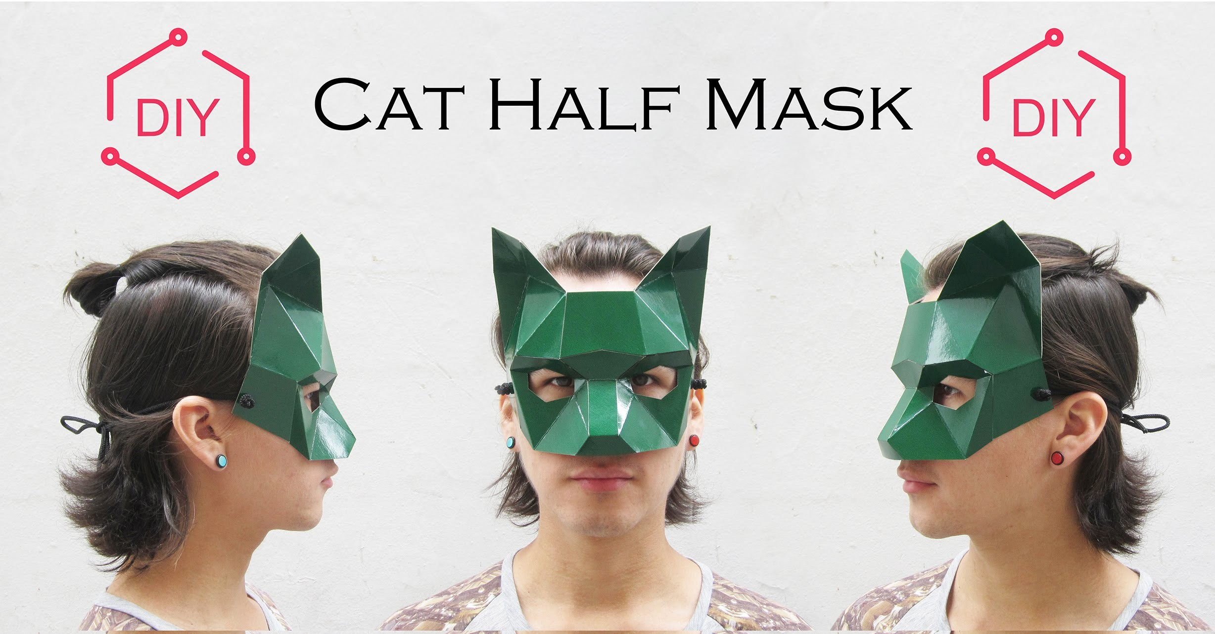 DIY - Cat Half Mask . Geometric Mask. Wintercroft