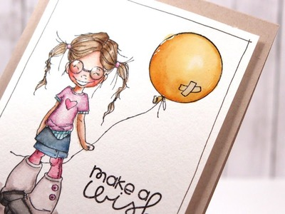 Color Wednesday #26 - Distress Markers & Saturated Canary Balloon Wishes