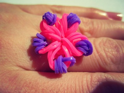 Colorful loom bands Rainbow Loom Flower Charm Ring without Loom