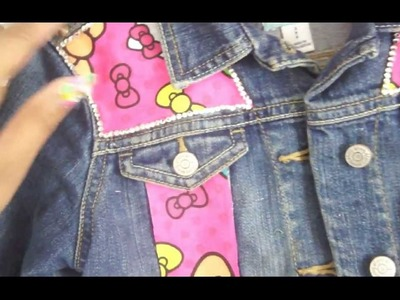DIY Customized Hello Kitty Spiked Jean Jacket (Finished Product)