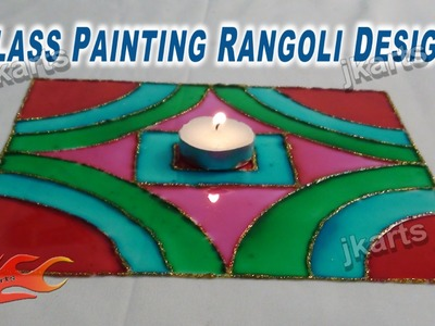 DIY Glass Color Rangoli Design on OHP Sheet | How to make | JK Artss 236