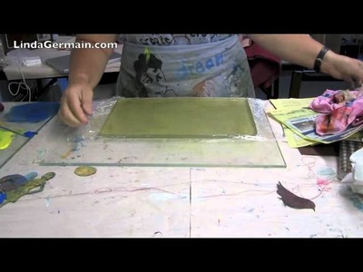 Gelatin plate for printmaking w.plastic wrap liner