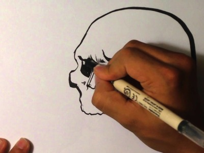 How to Draw a Skull with Calligraphy Pen